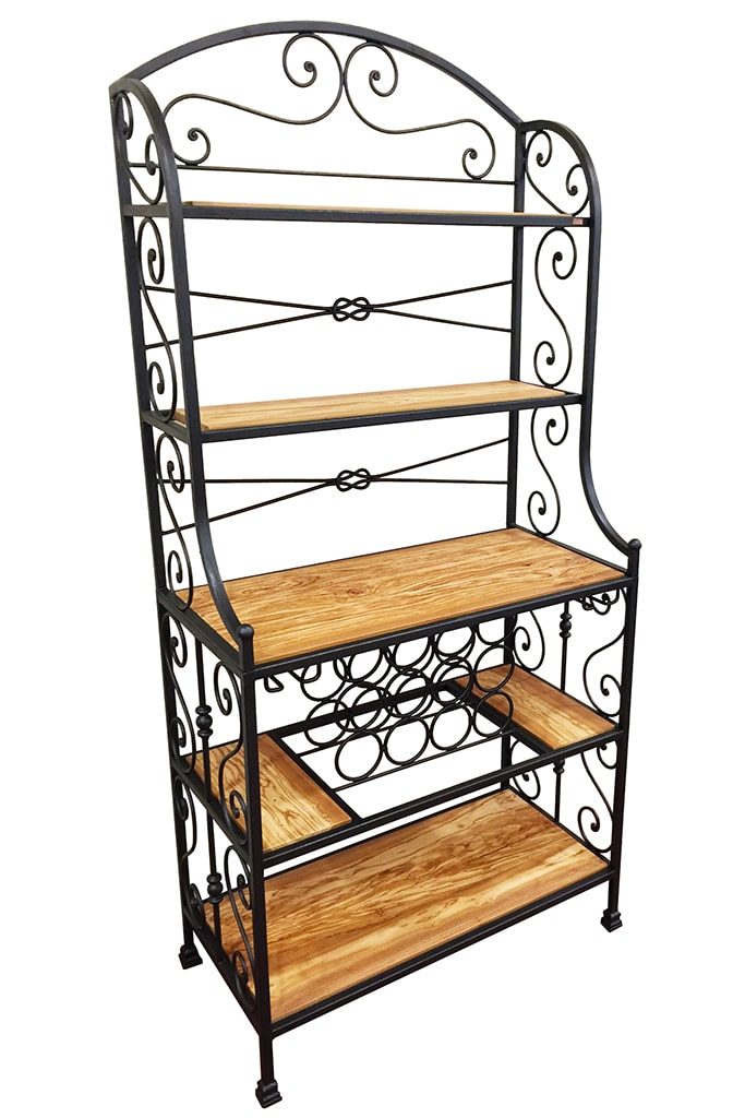 wrought iron bakers rack mobili portavino in ferro battuto